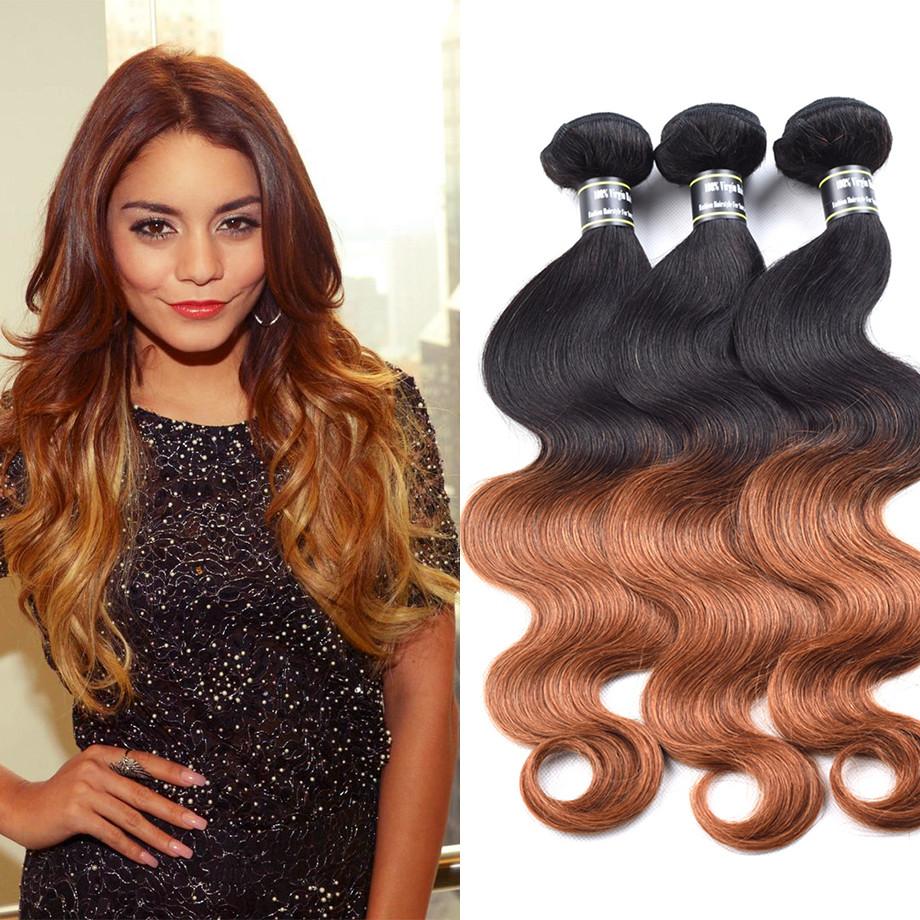 Amazing Star  6 дюймов ombre волосы 3 пучки бразилинская девственная волна волос тела