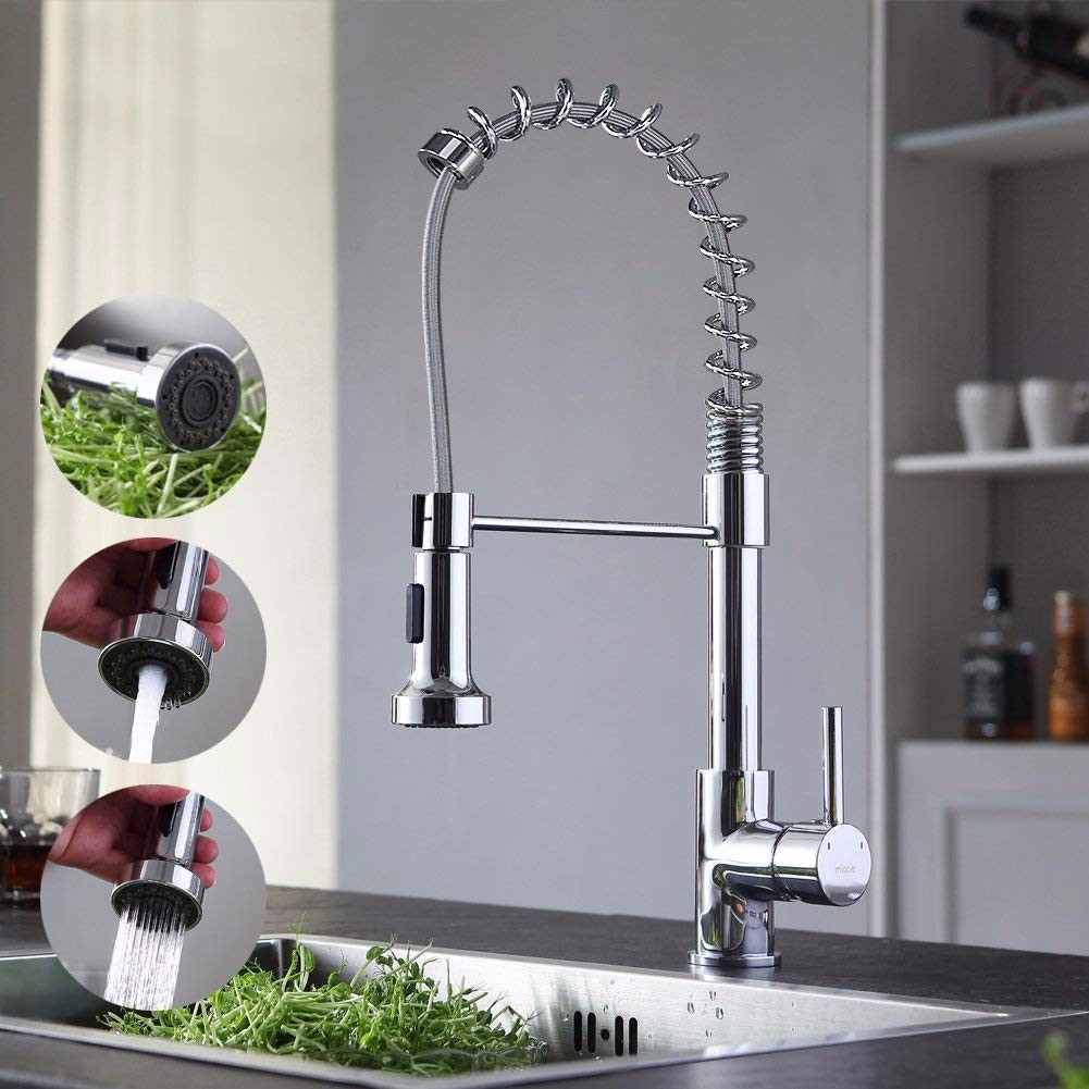 micoe H-HC109 single lever deck mounted pull out chrome bathroom kitchen mixer tap faucet leon60