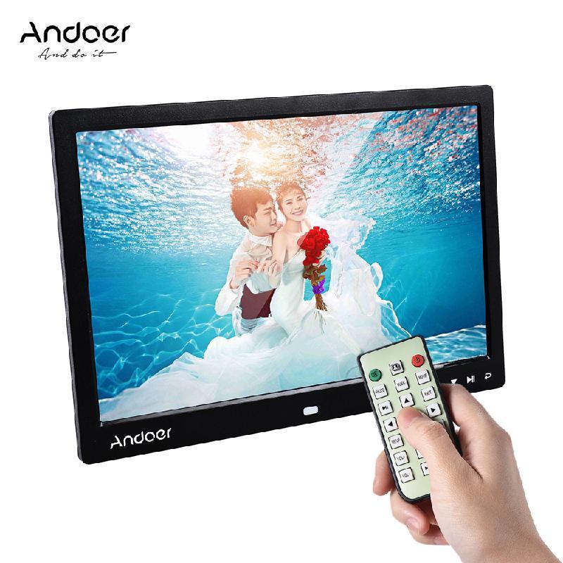 ANDOER Black Стандарт ЕС 12 inch high definition widescreen multi function digital photo frame electronic photo album video advertising machine