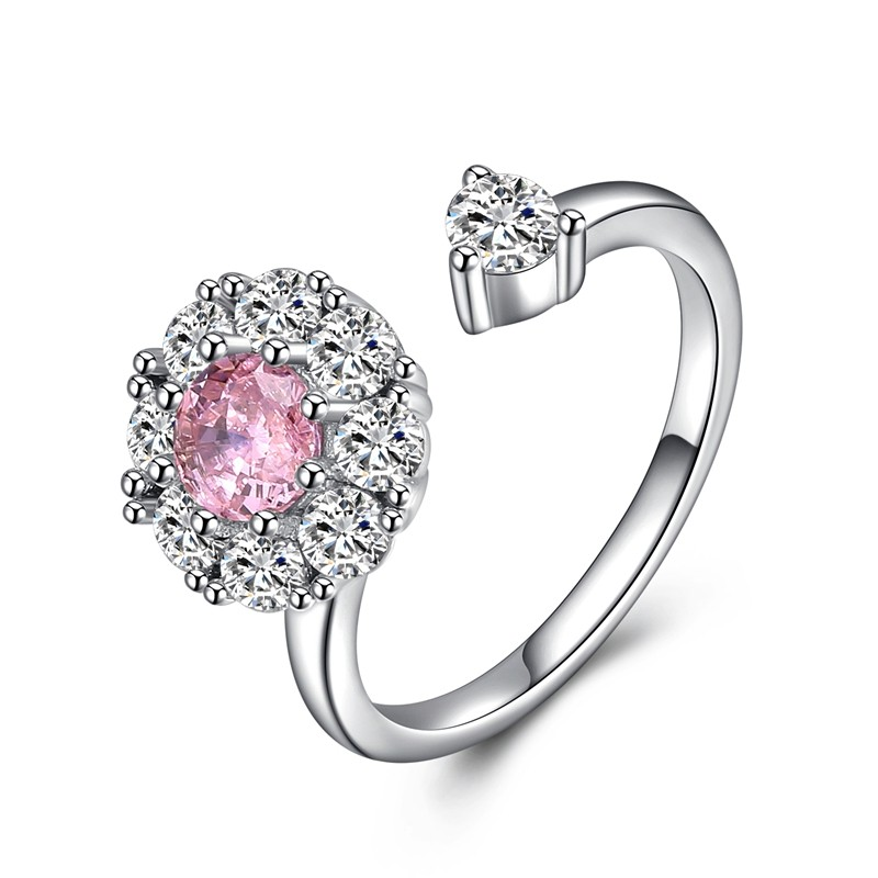 OFF XXL Розовый кристалл Resizable yoursfs zircon кольцо кольцо с золотым кольцом кольцо с бриллиантами кольцо с бриллиантами anillos anel кольцо для обручального кольца для женщин