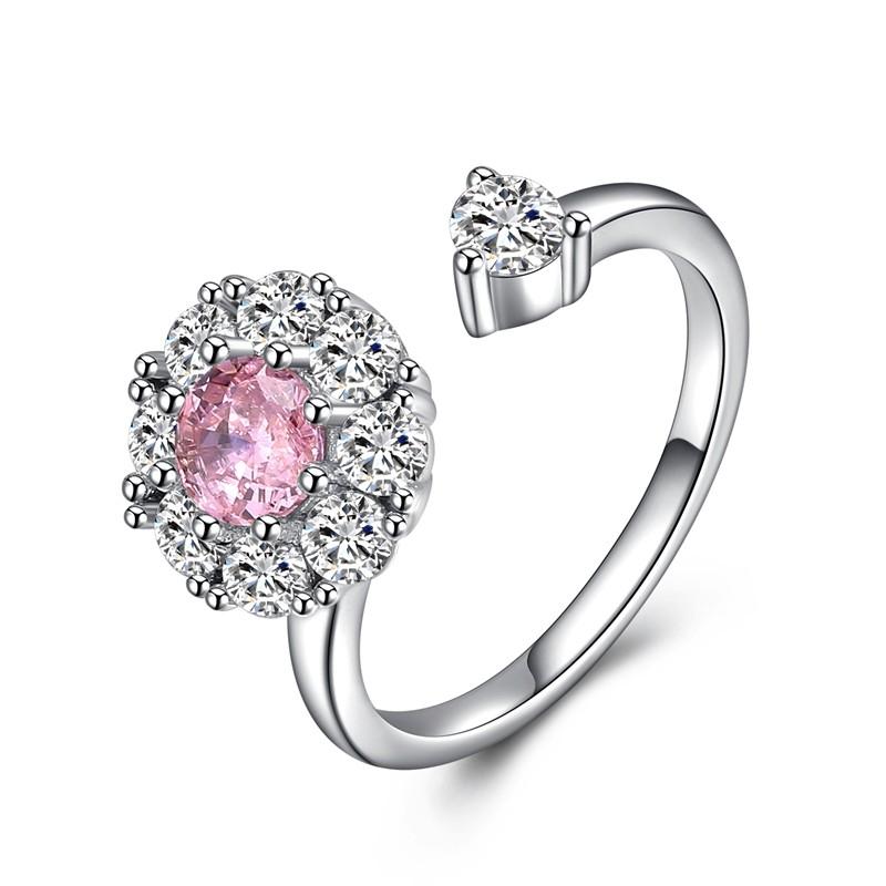 Кольцо с бриллиантами Кольцо с бриллиантами Кольцо с бриллиантами Кольцо с бриллиантами OFF XXL Розовый кристалл Resizable фото