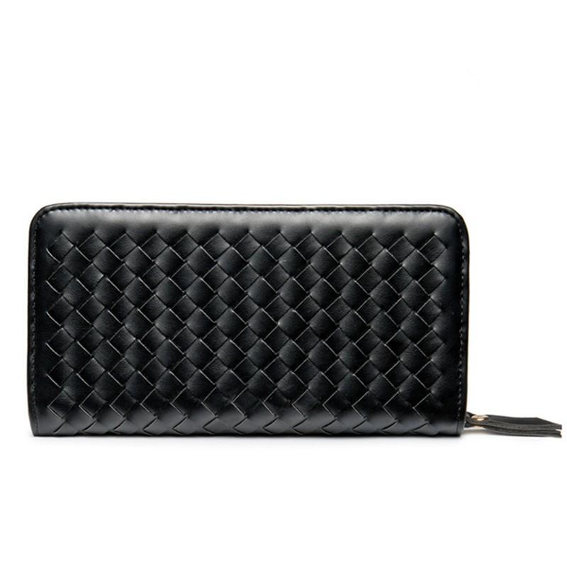 Earth tell черный 2017 genuine cowhide leather women wallets fashion purse card holder vintage long wallet clutch wrist bag k103