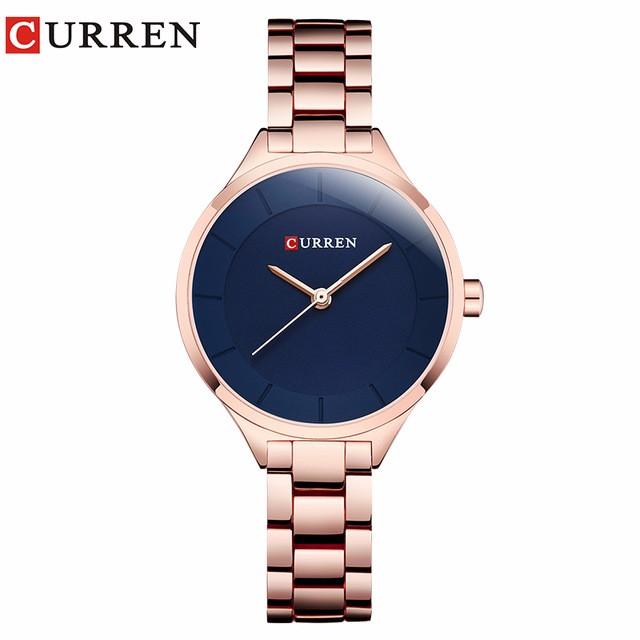 CURREN 03 curren 9015 watch women casual fashion quartz wristwatches ladies gift creative surface relogio feminino rose blue