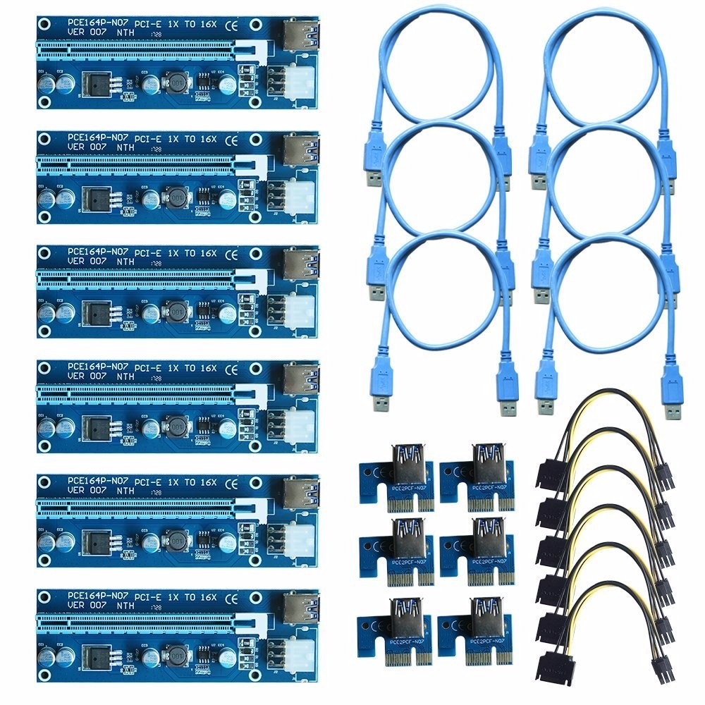 Oak Leaf Blue riser card 60cm pcie pci e pci express card 1x to 16x usb 3 0 data cable sata to 6pin ide power supply for miner machine