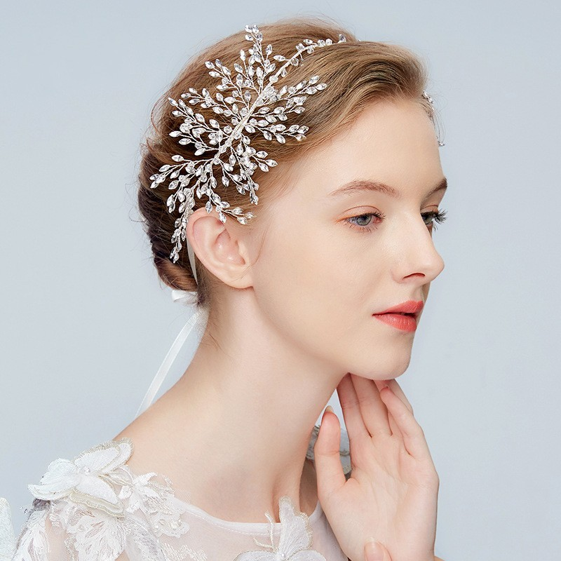 JONNAFE Серебряный модный luxurious stainless steel shiny flower and leaf w rhinestone pearl hair band headband silver