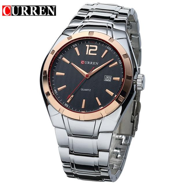 CURREN 01 mens watches top brand luxury curren men full stainless steel analog date quartz casual watch wristwatches relogio masculino
