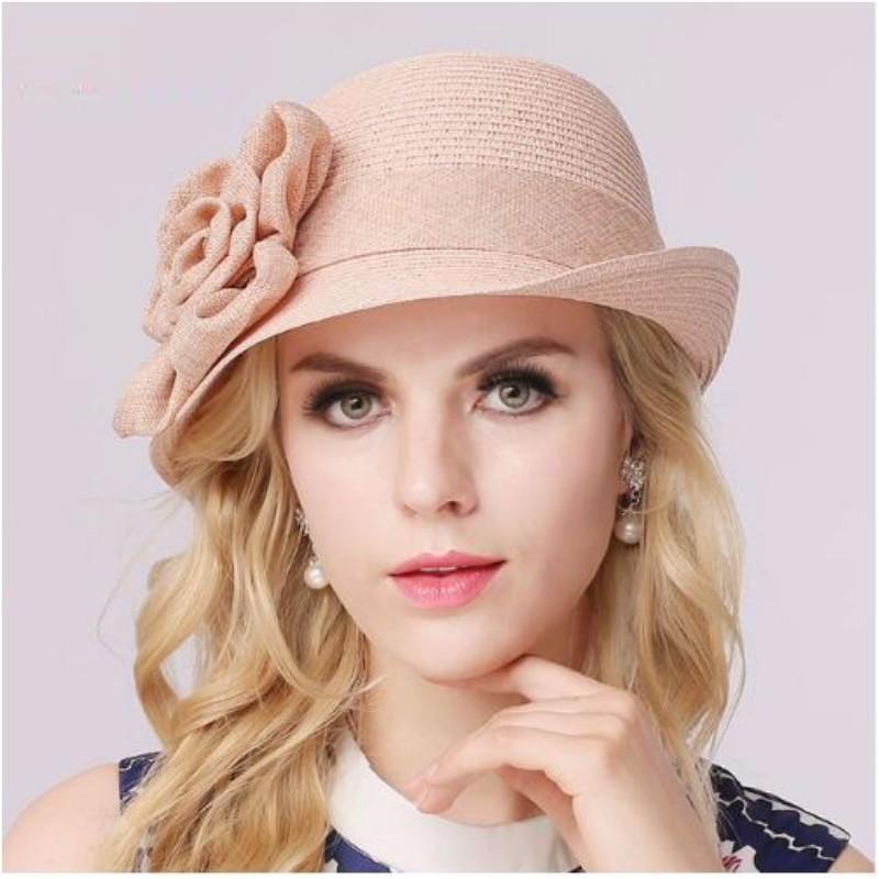 LUONIWEILIN розовый Свободный размер 2017 fashion summer girls kids children cap princess rose flower decor straw beach sun wide brim hat