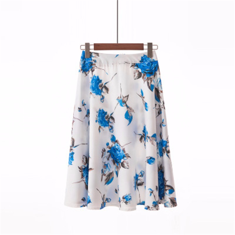 Юбка миди юбка эластичная талия высокая талия юбка юбка лето SAKAZY синий L фото