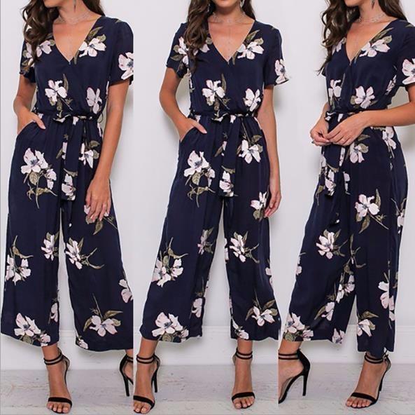 Мода V-образным вырезом с поясом талии с коротким рукавом комбинезон с коротким рукавом с коротким рукавом oye Темно-синий XXL фото