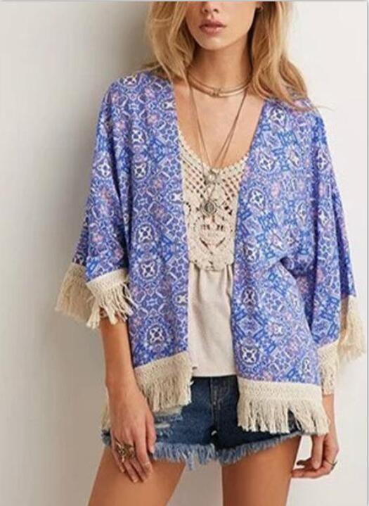 babyonline DRESS синий S tassel trimmed plain chiffon kimono