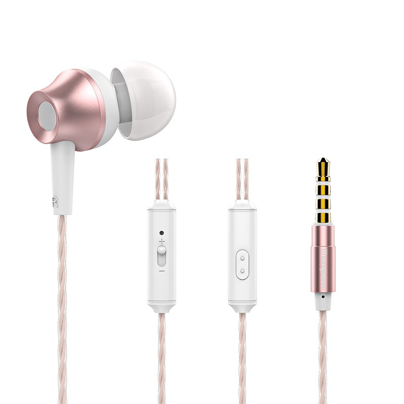 GANGXUN Розовое золото In Ear Earphone Metal Heavy Bass Stereo Headset 35mm Gilded Wired Control Earbu