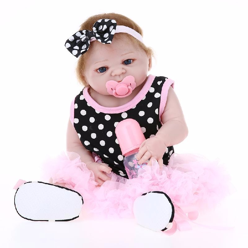HOMEGEEK Розовый handmade silicone soft reborn dolls baby girl 22 inch lifelike princess babies doll toy with crown dress kids birthday xmas gift