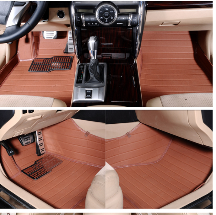 Myfmat Brown for volkswagen vw tiguan left drive firm leather full car floor mats black brown non slip custom made waterproof carpets