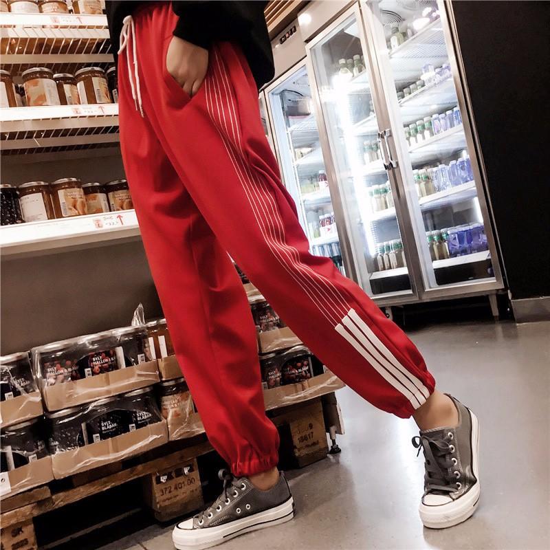 Брюки женские брюки для девочек брюки летние брюки брюки с высокой талией SAKAZY красный XL фото