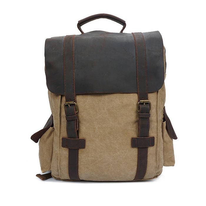 CAROLING ANGEL Brown 32  11  40 см Сумасшедшая лошадь кожаный холст плеча сумка Vintage Travel Backpack
