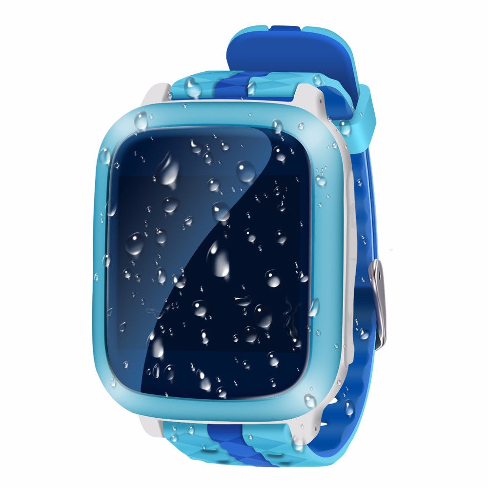 cavour Blue children smart watch ds18 gpm gps wifi locator tracker kids wristwatch waterproof sos call smartwatch child for ios android f19