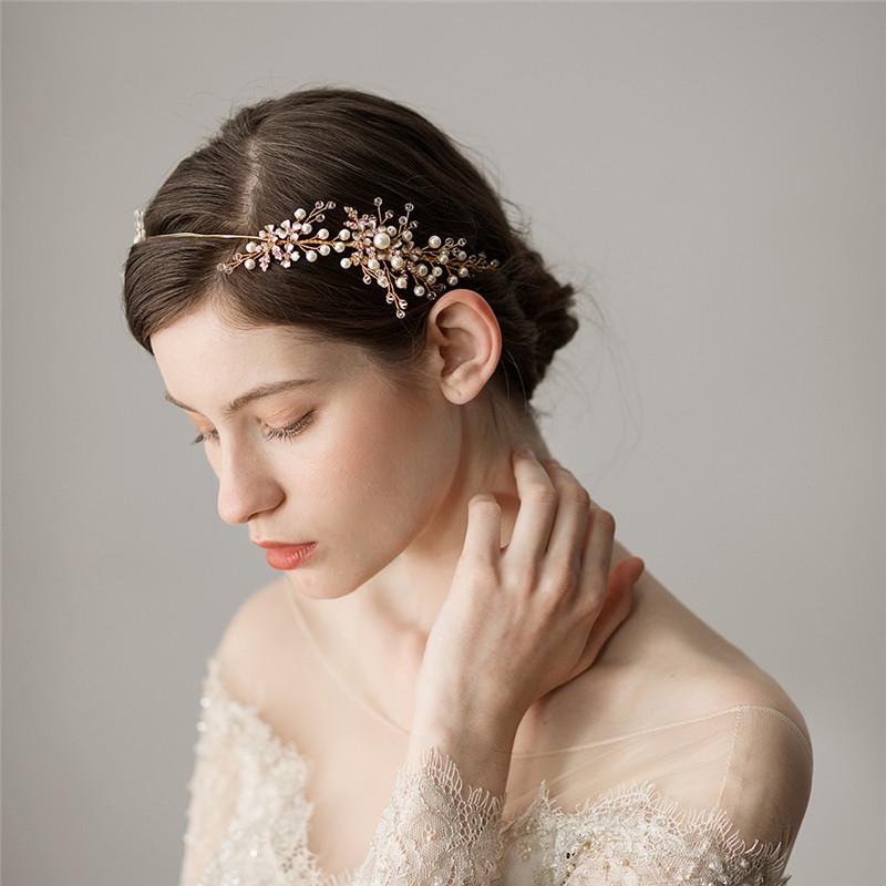 JONNAFE Золото модный newborn bebe sparkling pearls elastic headband rhinestone gold silver hair bands girls photography props hair accessories