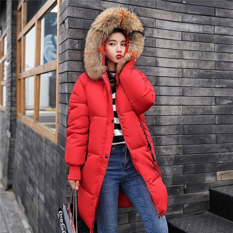 XYPANDA красный XXL 2017 зима мода новый дамы хлопок пальто длинный хлопок куртка куртка толстый хлопок куртка