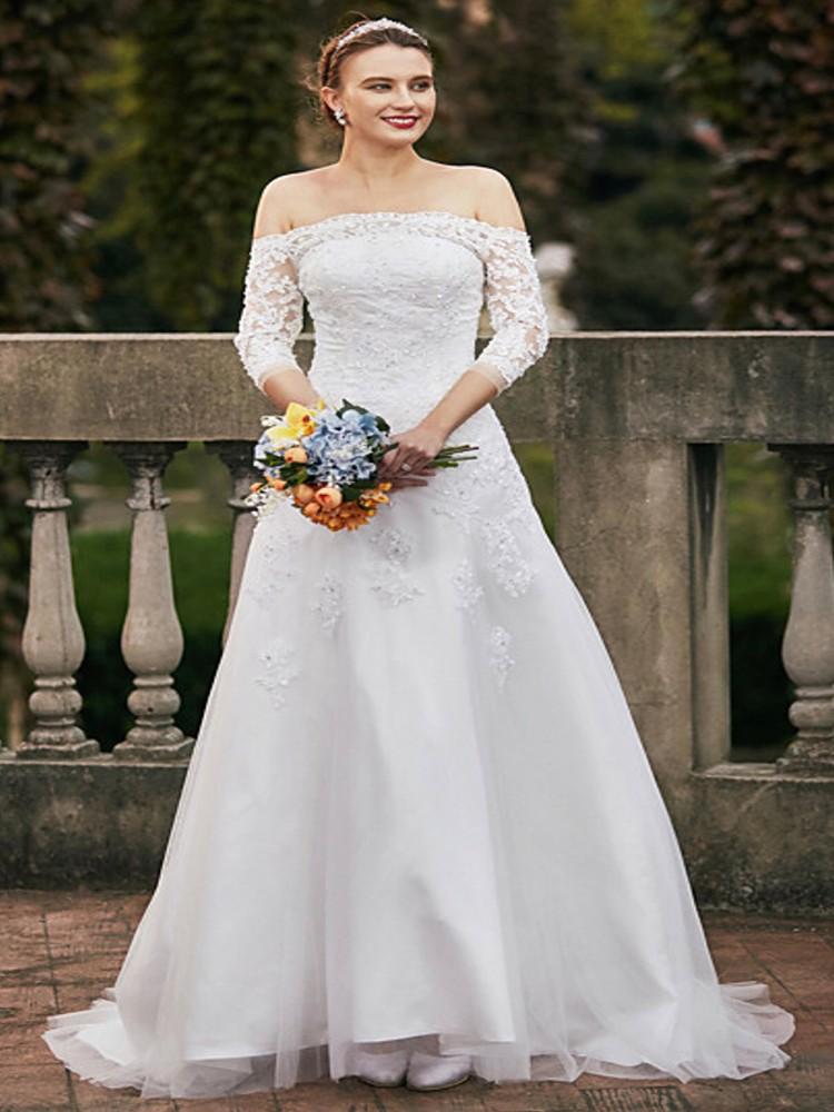 Выездное свадебное платье с плеча свадебное платье 2016 года CIRCELEE Как изображение США 12 Великобритания 16 ЕС 42 фото