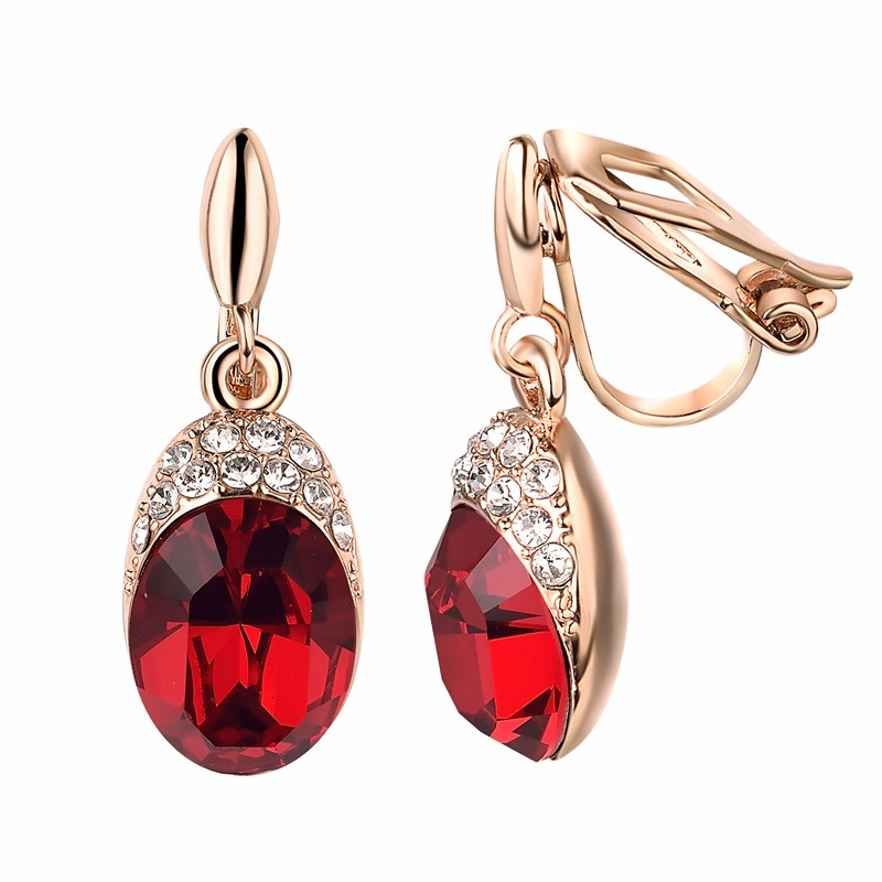 yoursfs Red yoursfs leverback earrings 18k white rose gold plated fashion jewelry women square crystal dangle drop earrings