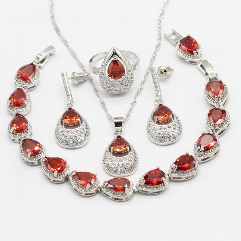 925 Серебряные свадебные наборы для ювелирных изделий WPAITKYS Red 10 фото