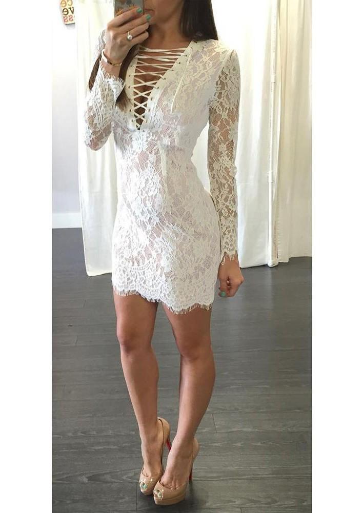 babyonlineDRESS белый M crisscross slim fitted shell dress