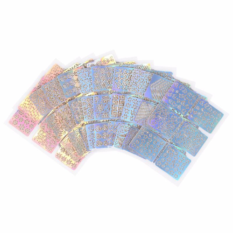 HOMEGEEK Многоцветный 4pcs set buddha pharaoh mandala маникюр nail art template 3 пластины изображений 20 слот шаблоны кожаный держатель