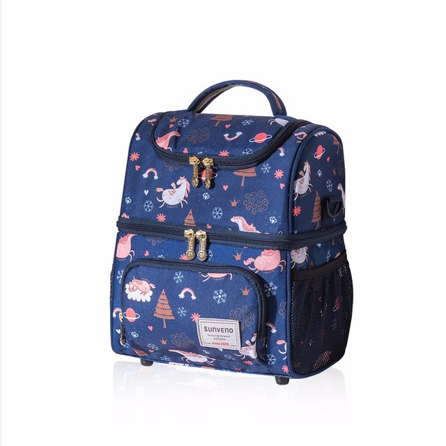 sunveno Blue Двойное плечо newest insulated cooler thermal picnic lunch box waterproof tote lunch bag for kids adult outdoor bags picnic bag insulated bags