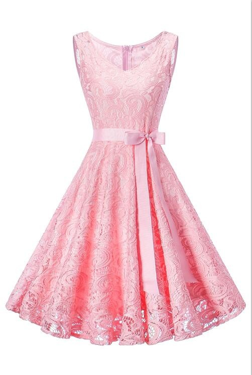 малыш платье розовый L lovely o neck lace flower girl dresses 2018 без рукавов кружева appliques bow belt princess pageant kids prom dress
