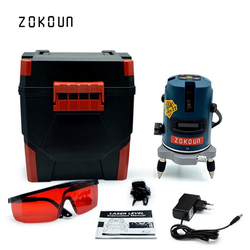 Zokoun eu plug 2 lines 1v1h 360 rotary self leveling tilt functional construction diagnostic tool green cross line laser