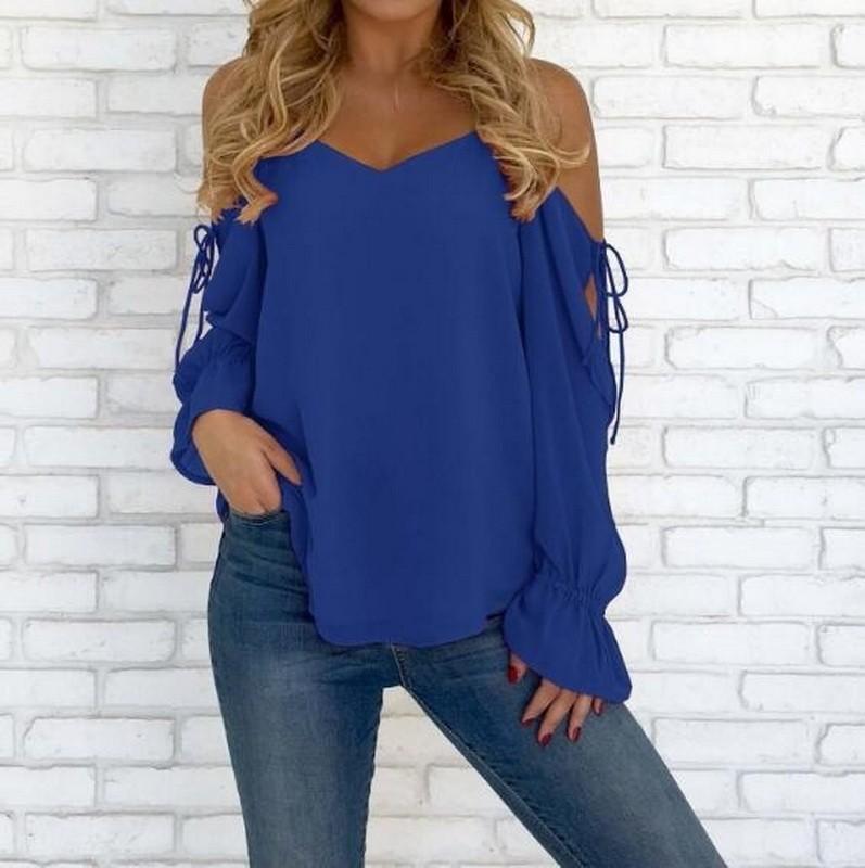 Jiesenlang синий XL йемен весна и осень рубашка женская рубашка шифон круглый воротник рубашки 8510110638 белый xl