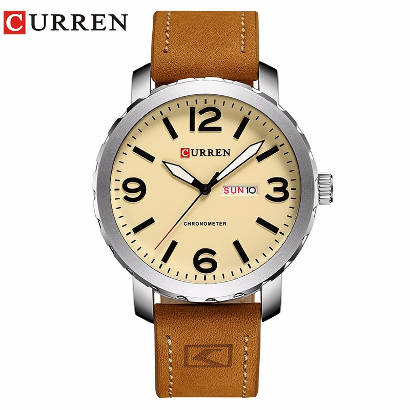 CURREN 03 sanda mens watches top brand luxury ultra slim calendar display quartz watch men business leather band relogio masculino