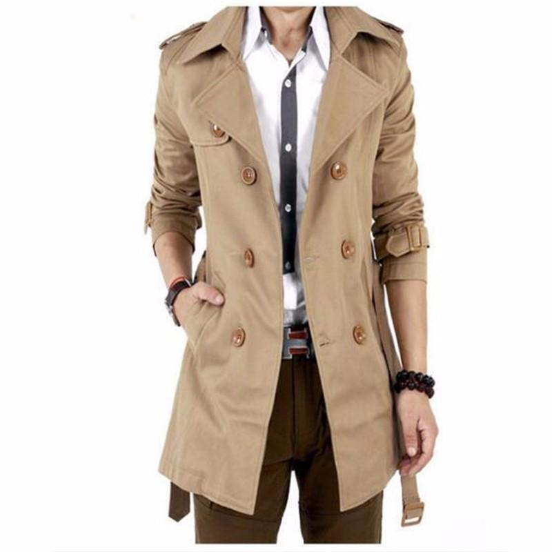 Пальто Trench пальто людей классицистическое двойное Breasted длиннее пальто людей AILOOGE Легкий хаки XL фото