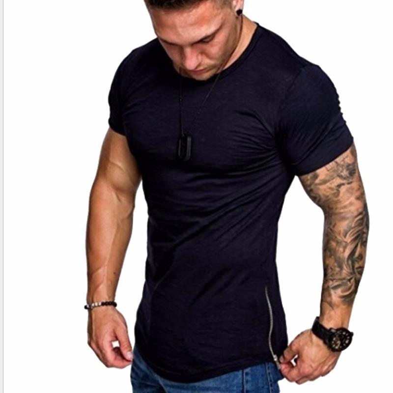 Чистый цвет футболки вокруг шеи Casual Wear коротким рукавом Slim Fit T-Шир Xuanxuan diary Темно-синий XS фото