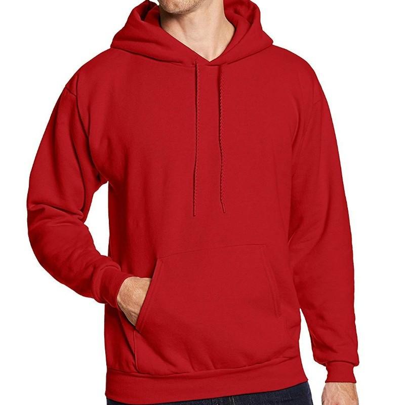 Свитер с капюшоном Мужская мода Hoodies из серебра и зимы сплошной цвет с капюшоном Xuanxuan diary Red XL фото