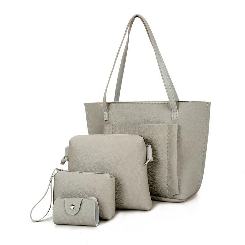 SMOOZA Серый Большой женщины кожа pu плеча tote сумки хо��о сумки сумка сумка кошелек