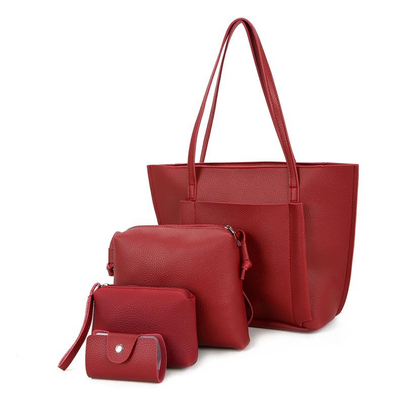 SMOOZA Красный Большой женщины кожа pu плеча tote сумки хо��о сумки сумка сумка кошелек