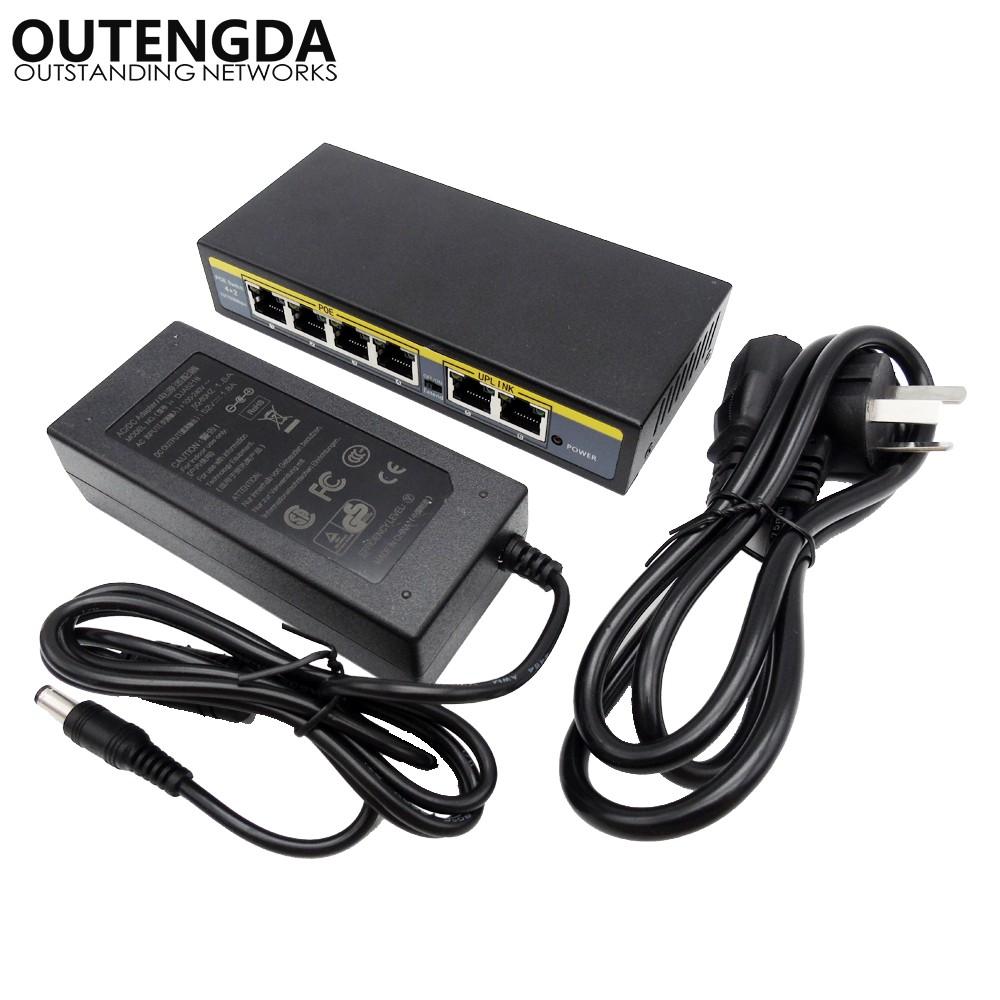 OUTENGDA Внешний источник питания Passive POE 24V cctv 4 port 10 100m poe net switch hub power over ethernet poe