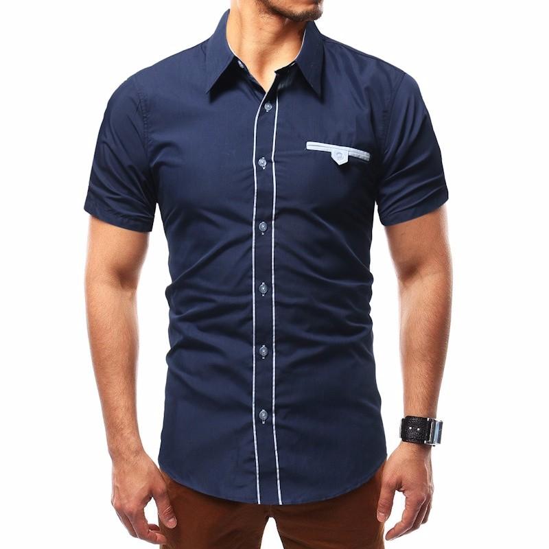 Лето коротким рукавом Частное Культивирование Личность рубашка Повседневная мода воротник Xuanxuan diary Темно-синий XXXL фото