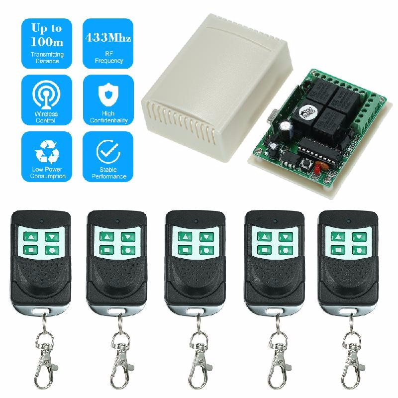 dodocool Black dc 12v 2 ch rf wireless remote control lighting switch system 4 button transmitter 1 x 2 channel receiver 315 433 mhz