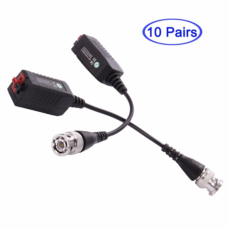 COOLM yiispo 1 pair cctv cat5 5e 6 bnc audio video power balun utp twisted ahd video balun power for cvi tvi ahd 720p 1080p camera