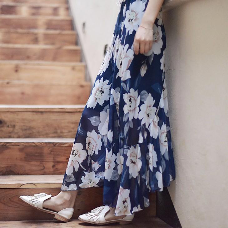 Юбка юбка midi юбка эластичная талия высокая талия юбка юбка лето SAKAZY синий M фото