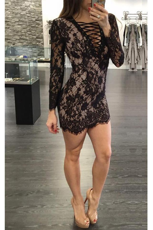 babyonlineDRESS черный L crisscross slim fitted shell dress