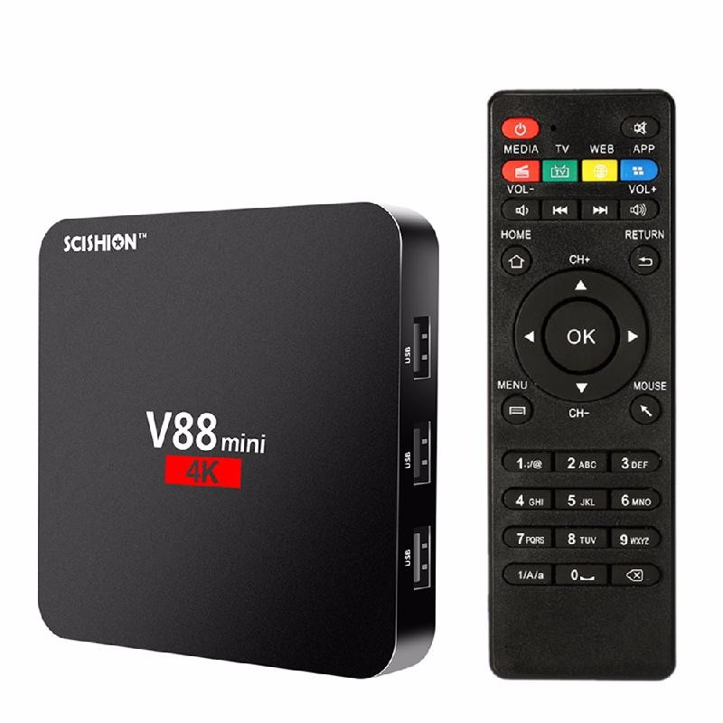 TOMSHINE черный scishion v88 plus tv box rockchip 3229 quad core android 5 1 wifi h 265 vp9 4k smart set top box media player pk v88 v88 pro x96