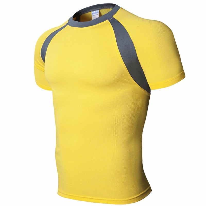 SummerShirtFitnessquick-dryingshort sleevesTightsT ShirtsSuitsSportОдежда Xuanxuan diary Yellow S фото