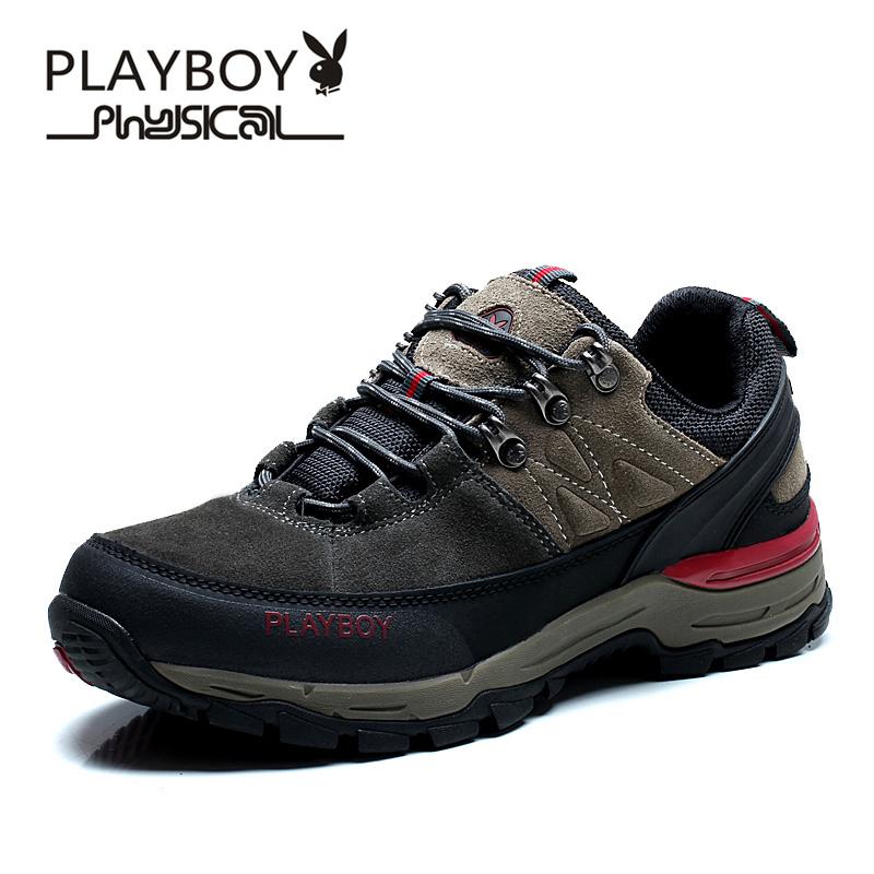 PLAYBOY Серый цвет 75 ярдов плейбой бренд осенью открытый скалолазания и пешие прогулки досуга для дыхания и водонепроницаемым мужские ботинки
