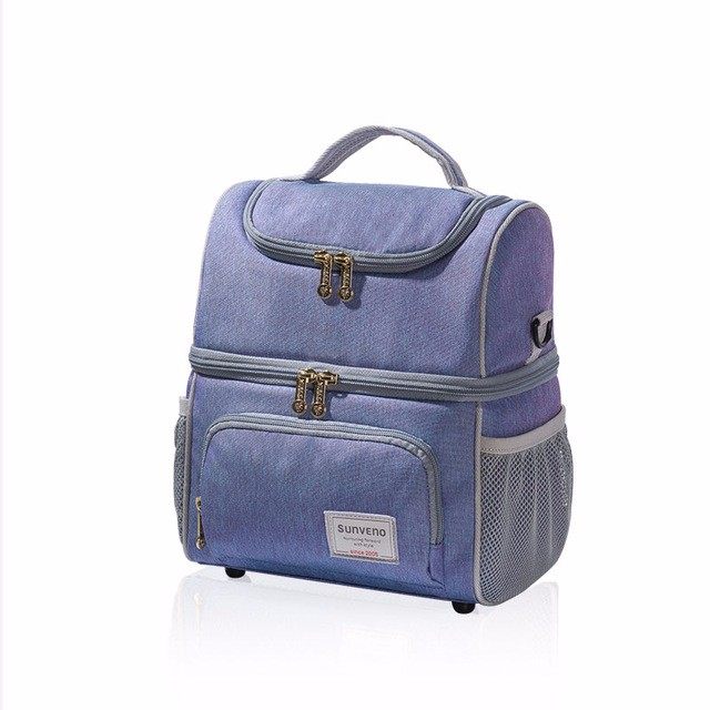 sunveno Пурпурный Двойное плечо newest insulated cooler thermal picnic lunch box waterproof tote lunch bag for kids adult outdoor bags picnic bag insulated bags