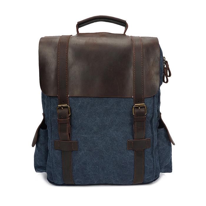 CAROLING ANGEL Blue 32  11  40 см Сумасшедшая лошадь кожаный холст плеча сумка Vintage Travel Backpack
