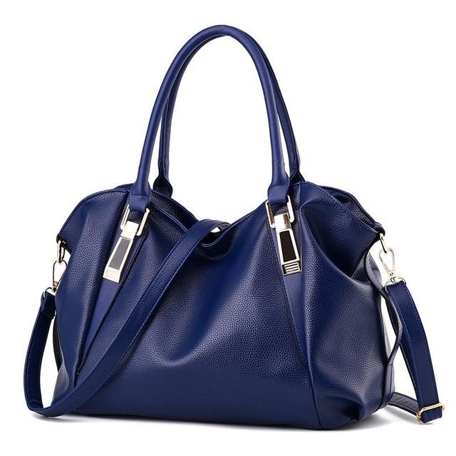 SMOOZA синий большой горячие корейской леди женщины хобо кожа pu посланника плеча сумки totes кошелек