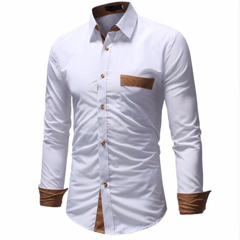 Рубашки мужские рубашки Повседневные рубашки Гавайский стиль Тонкие рубашки с длинным рукавом AILOOGE белый XL фото
